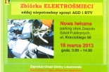 18 marca Zbiórka zużytego sprzętu AGD i RTV w Nowej Iwicznej