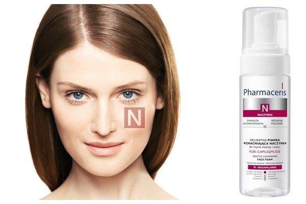 Nowość Pharmaceris N - PURI-CAPILIQMUSSE delikatna pianka wzmacniająca naczynka do mycia twarzy i oczu