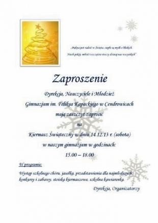 Kiermasz Świąteczny w Cendrowicach