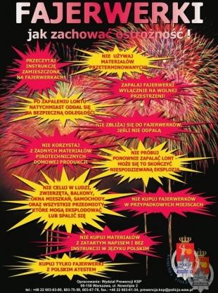 Zachowaj ostrożność z fajerwerkami