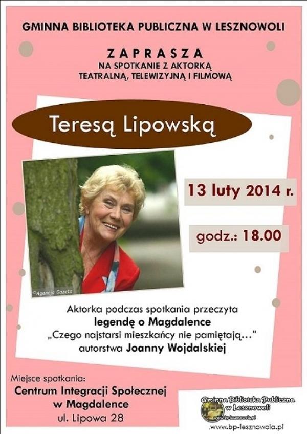 Spotkanie z Teresą Lipowską w Magdalence