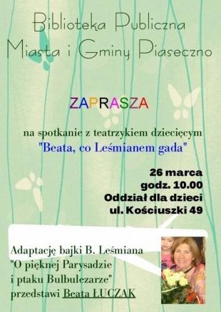 Beata, co Leśmianem gada w piaseczyńskiej Bibliotece Publicznej