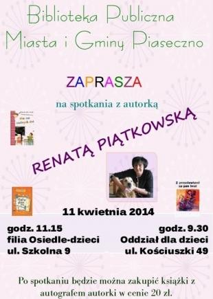 Spotkanie autorskie z Renatą Piątkowską w Piasecznie