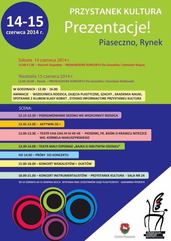 Prezentacje Przystanku Kultura na rynku w Piasecznie