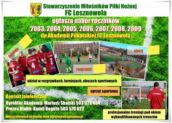 Nabór do Akademii Piłkarskiej FC Lesznowola