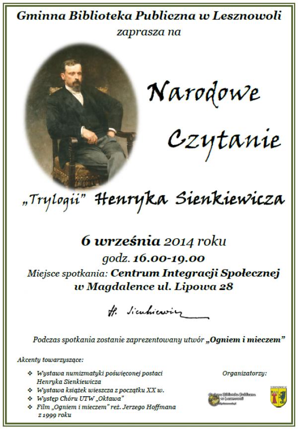 Narodowe Czytanie Sienkiewicza w Magdalence