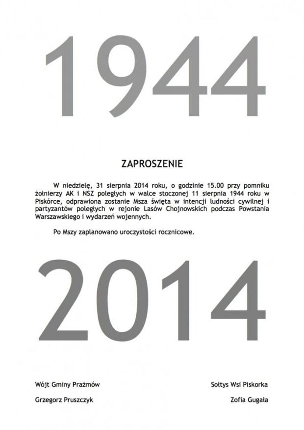 Obchody rocznicowe - Piskórka 1944