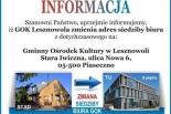 Zmiana siedziby Gminnego Ośrodka Kultury w Lesznowoli