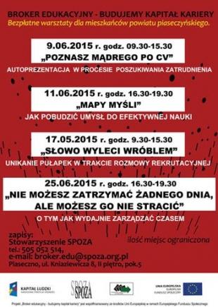 Bezpłatne warsztaty dla osób z powiatu piaseczyńskiego