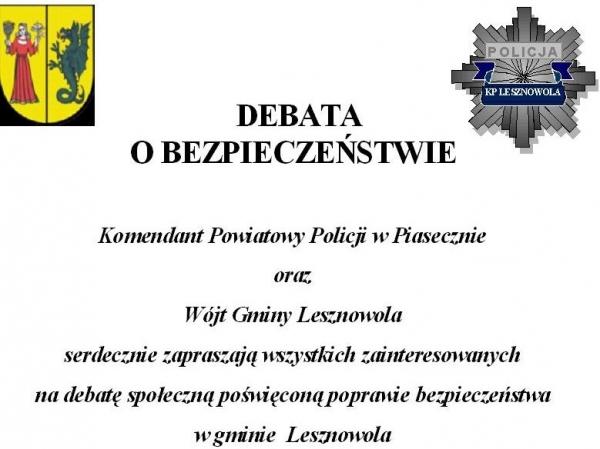 Debata o bezpieczeństwie w gminie Lesznowola