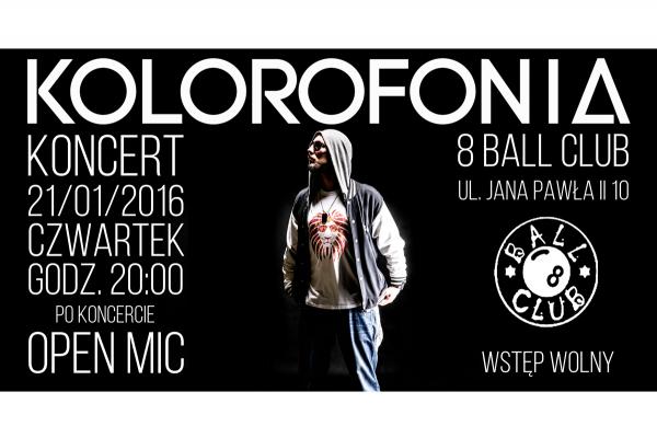 KOLOROFONIA - Koncert w 8 Ball Club + Open Mic