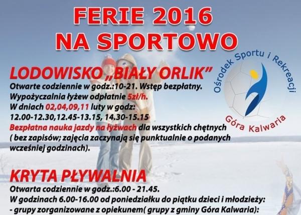 Ferie 2016 na sportowo w Górze Kalwarii