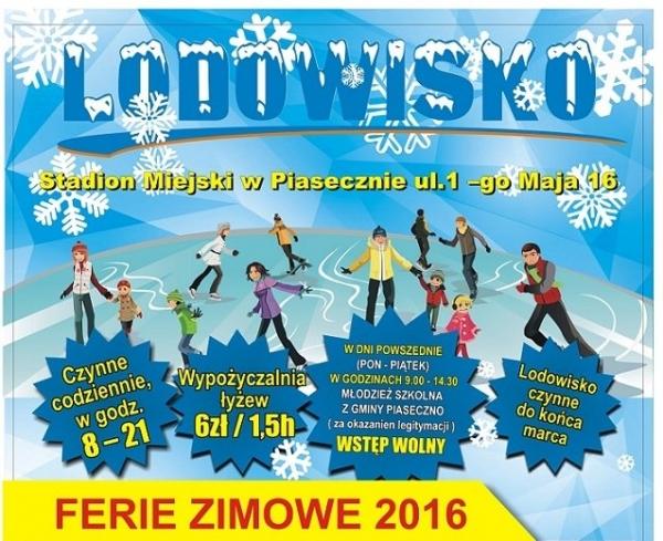 W ferie lodowisko w Piasecznie bezpłatne dla młodzieży szkolnej