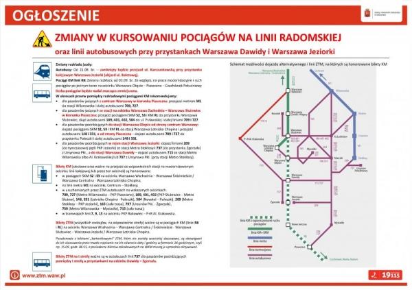 Zmiany w komunikacji przy przystankach Warszawa Dawidy i Warszawa Jeziorki
