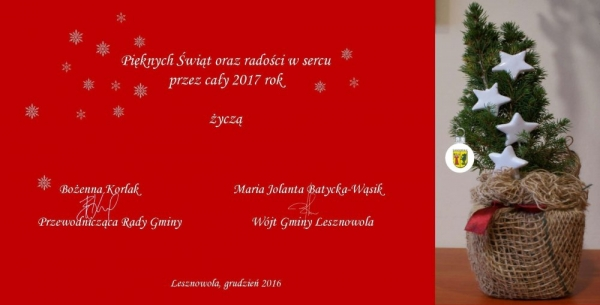 Życzenia świąteczne z UG Lesznowola