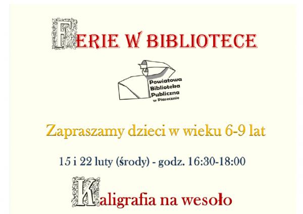 Ferie w Bibliotece Powiatowej