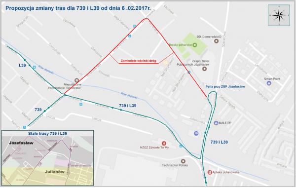 Zmiana tras linii 739 i L39 od 6 lutego