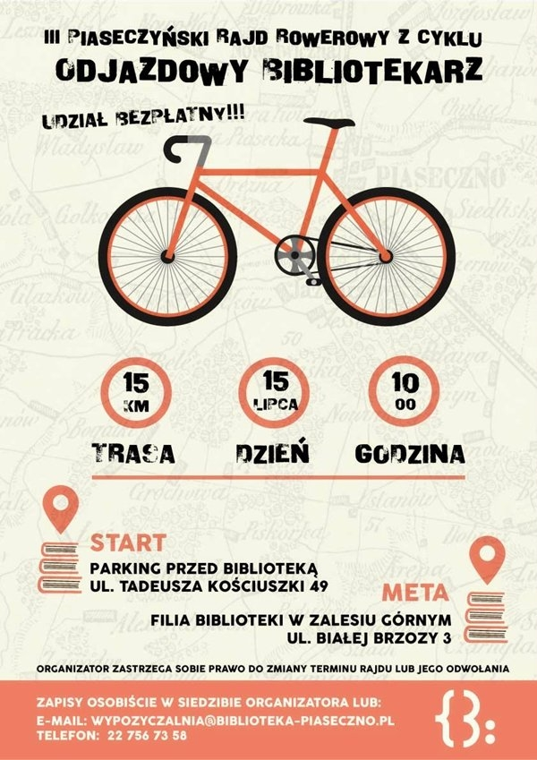 """III piaseczyński rajd rowerowy z cyklu """"Odjazdowy Bibliotekarz"""""""