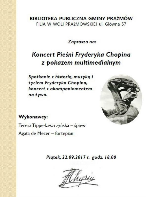 Koncert Pieśni Fryderyka Chopina w Woli Prażmowskiej
