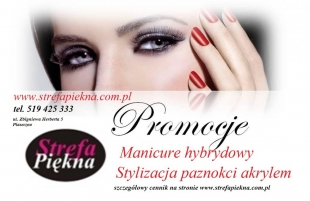 Paznokcie akrylowe , manicure hybrydowy