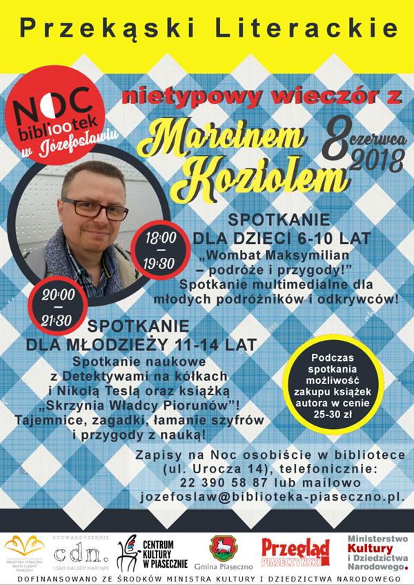 Noc Bibliotek w Józefosławiu – Nietypowy wieczór z Marcinem Koziołem