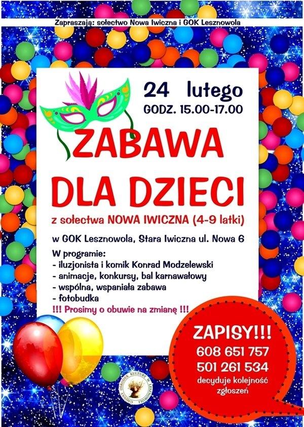 Zabawa dla dzieci sołectwa Nowa Iwiczna