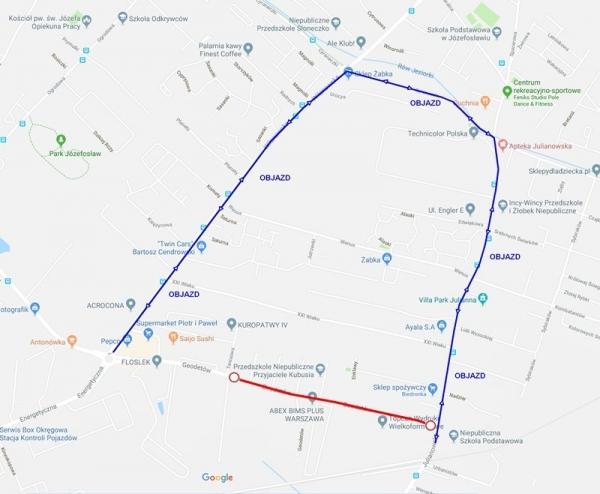 Zamknięcie ul. Geodetów – od Tenisowej do Julianowskiej