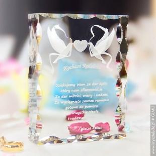 Podziękowanie dla rodziców - Kryształ 3D z Gołąbkami Miłości