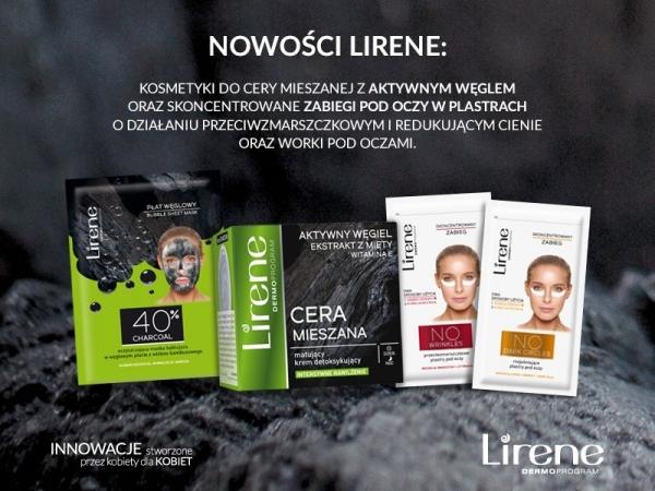 Nowości Lirene - kosmetyki do cery mieszanej z aktywnym węglem  oraz skoncentrowane zabiegi pod oczy w plastrach