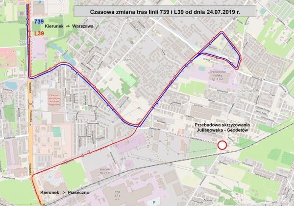 Zamknięcie skrzyżowania ulic Geodetów i Julianowskiej w Józefosławiu – budowa ronda