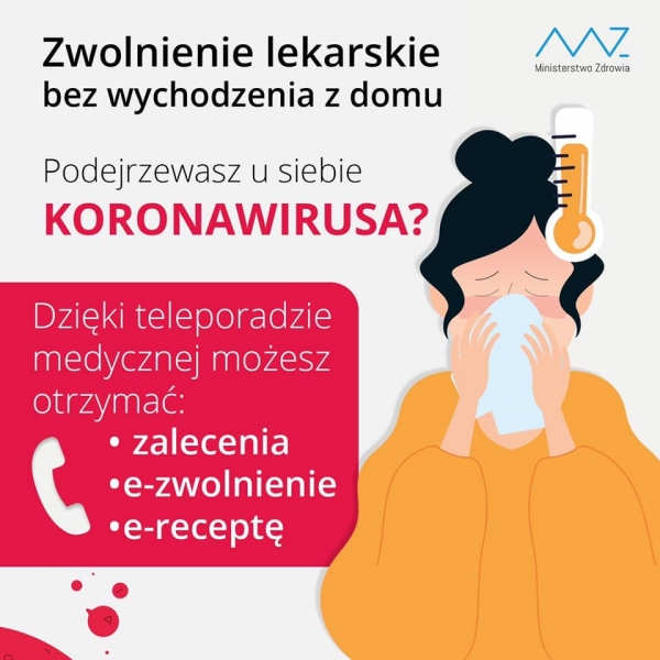 Zwolnienie lekarskie bez wychodzenia z domu dla pacjentów przychodni przy ul. Fabrycznej w Piasecznie
