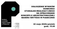 Ogłoszenie wyników konkursu na opracowanie koncepcji architektonicznej basenu krytego