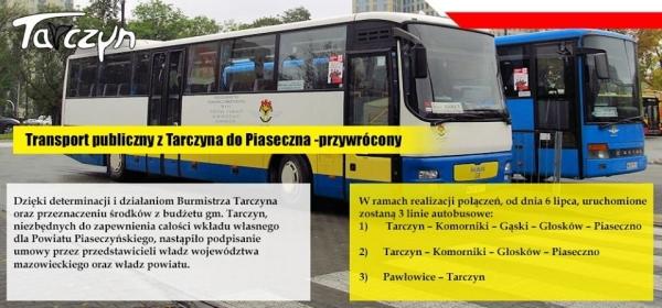 Transport publiczny z Tarczyna do Piaseczna - przywrócony