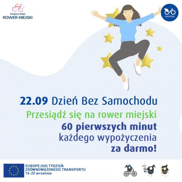 Dzień bez samochodu na rowerach miejskich w Piasecznie: pierwsza godzina za darmo