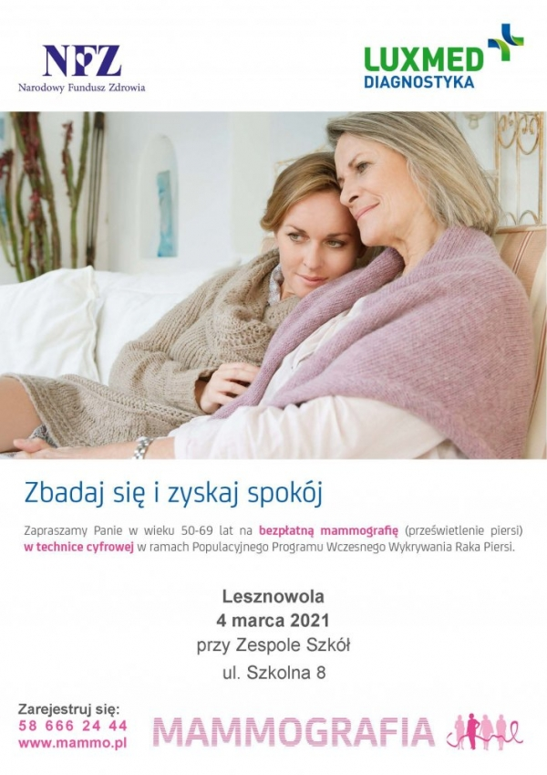 Bezpłatna mammografia. Zadbaj o swoje zdrowie!
